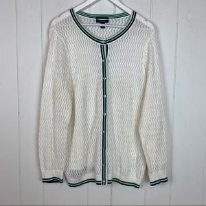 Land's End Open Knit Cardigan Sweater 1X